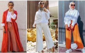 كيفية تنسيق البنطلون الواسع مع الحجاب